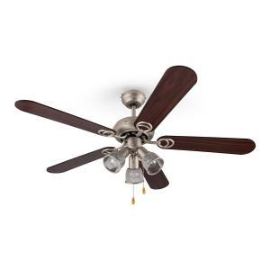 Klarstein Charleston, 60W, stropný ventilátor s tromi svietidlami, 122cm, drevené ramená, nehrdzavejúca oceľ