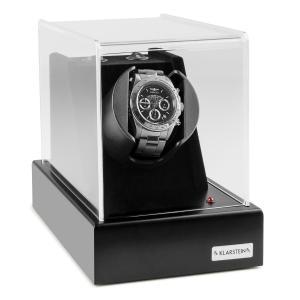 Klarstein Ermitage, čierny, pohyblivý stojan na hodinky, 1 hodinky, 2 režimy otáčania, sieťová prevádzka a prevádzka na batérie